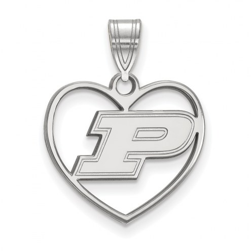 Purdue Boilermakers Sterling Silver Heart Pendant