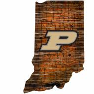 Purdue Boilermakers Distressed State with Logo Sign