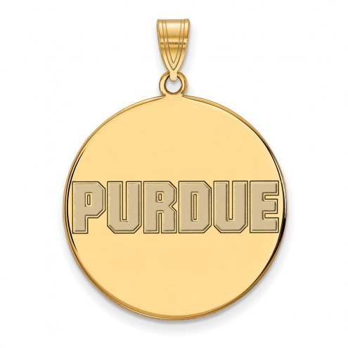 Purdue Boilermakers Sterling Silver Gold Plated Extra Large Enameled Disc Pendant