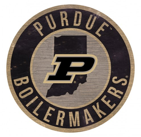 Purdue Boilermakers Round State Wood Sign