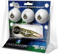 Purdue Boilermakers Gold Crosshair Divot Tool & 3 Golf Ball Gift Pack