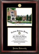 Purdue Boilermakers Gold Embossed Diploma Frame with Campus Images Lithograph