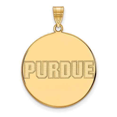 Purdue Boilermakers Sterling Silver Gold Plated Extra Large Disc Pendant