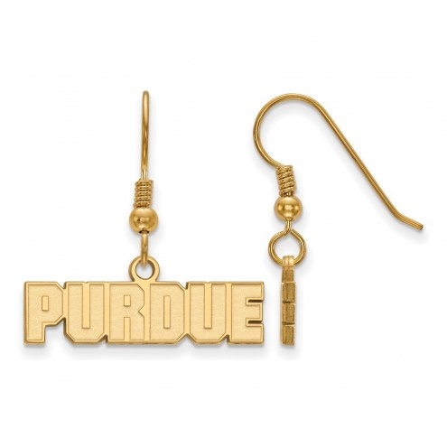 Purdue Boilermakers Sterling Silver Gold Plated Extra Small Dangle Earrings