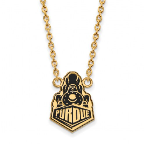 Purdue Boilermakers Sterling Silver Gold Plated Large Enameled Pendant Necklace
