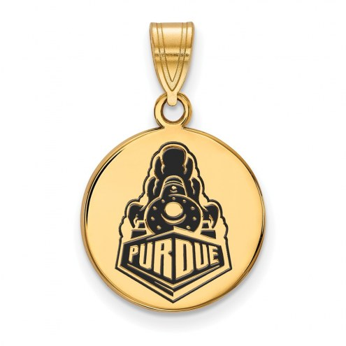 Purdue Boilermakers Sterling Silver Gold Plated Medium Enameled Disc Pendant