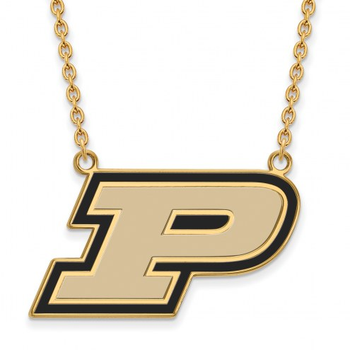 Purdue Boilermakers NCAA Sterling Silver Gold Plated Large Enameled Pendant Necklace