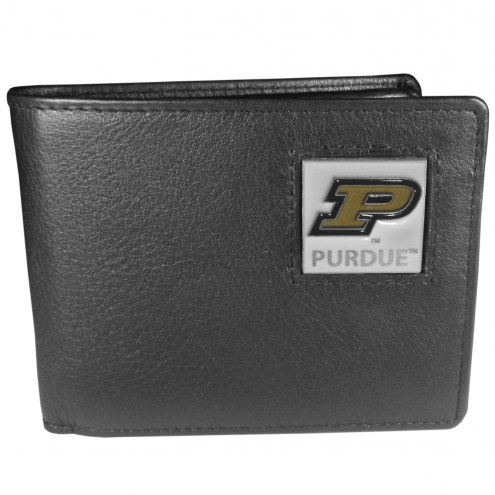 Purdue Boilermakers Leather Bi-fold Wallet in Gift Box