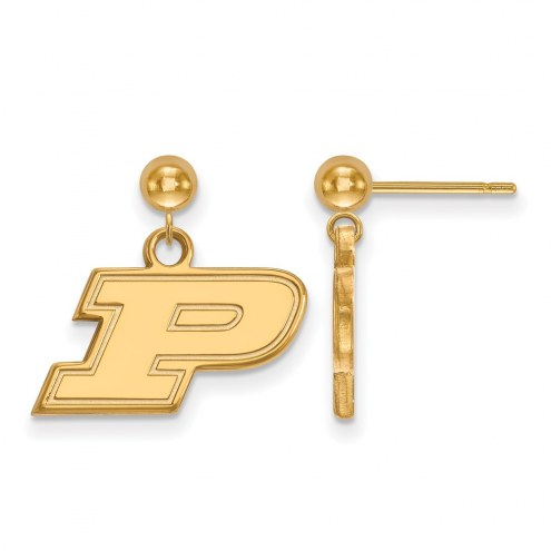 Purdue Boilermakers NCAA Sterling Silver Gold Plated Dangle Ball Earrings