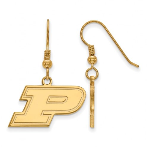 Purdue Boilermakers NCAA Sterling Silver Gold Plated Small Dangle Earrings