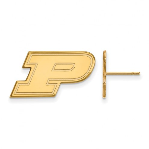 Purdue Boilermakers NCAA Sterling Silver Gold Plated Small Post Earrings