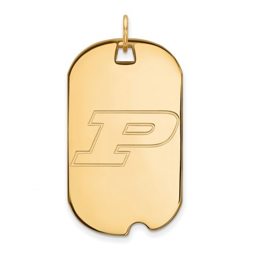 Purdue Boilermakers Sterling Silver Gold Plated Large Dog Tag