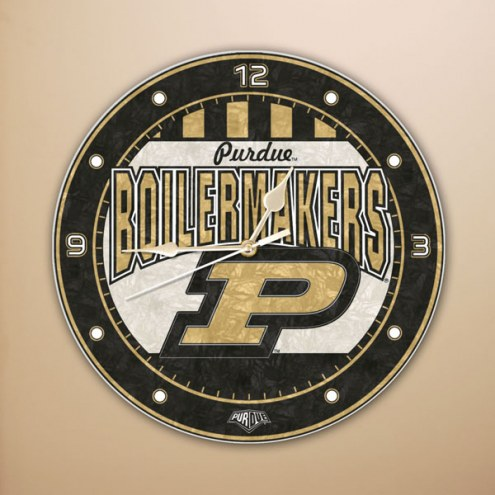 Purdue Boilermakers NCAA Stained Glass Wall Clock