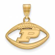 Purdue Boilermakers NCAA Sterling Silver Gold Plated Football Pendant