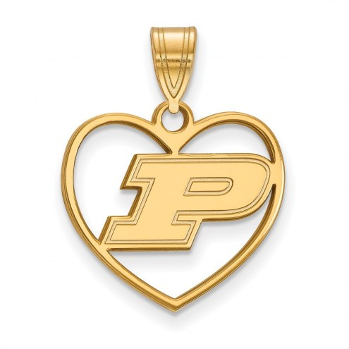 Purdue Boilermakers NCAA Sterling Silver Gold Plated Heart Pendant