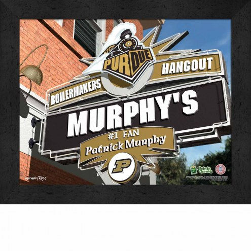 Purdue Boilermakers 11 x 14 Personalized Framed Sports Pub Print