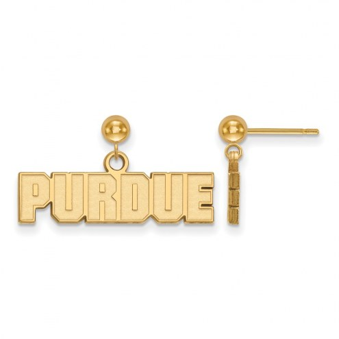 Purdue Boilermakers Sterling Silver Gold Plated Dangle Ball Earrings