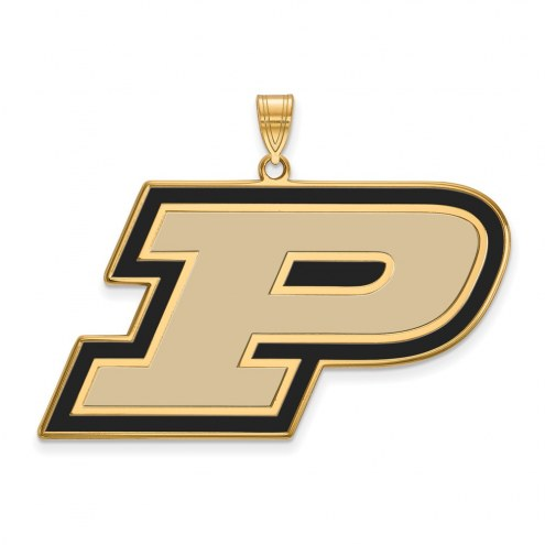 Purdue Boilermakers Sterling Silver Gold Plated Extra Large Enameled Pendant