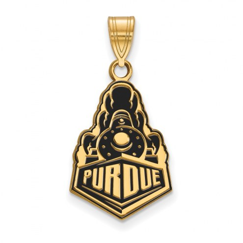 Purdue Boilermakers Sterling Silver Gold Plated Large Enameled Pendant