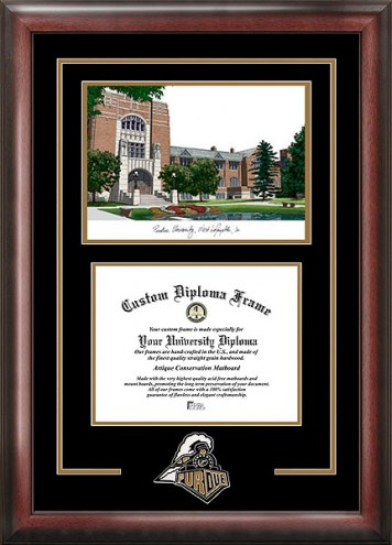 Purdue Boilermakers Spirit Diploma Frame with Campus Image
