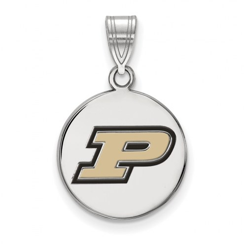 Purdue Boilermakers Sterling Silver Medium Enameled Disc Pendant