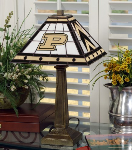 Purdue Boilermakers Stained Glass Mission Table Lamp