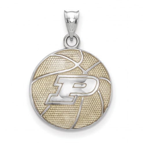 Purdue Boilermakers Sterling Silver Enameled Basketball Pendant
