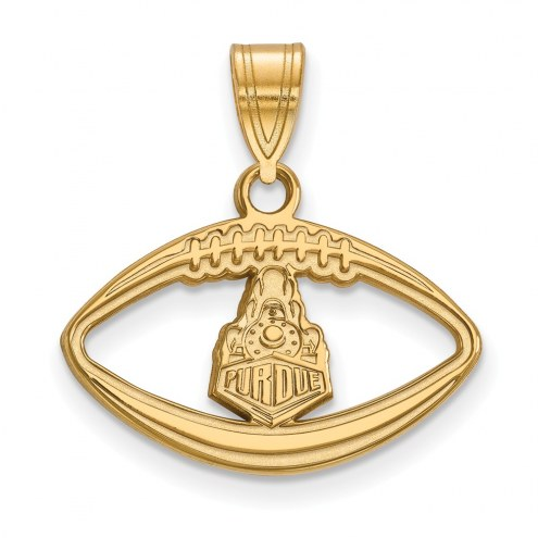 Purdue Boilermakers Sterling Silver Gold Plated Football Pendant