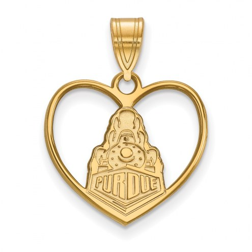 Purdue Boilermakers Sterling Silver Gold Plated Heart Pendant