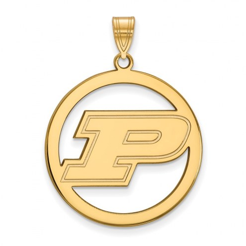 Purdue Boilermakers Sterling Silver Gold Plated Large Circle Pendant