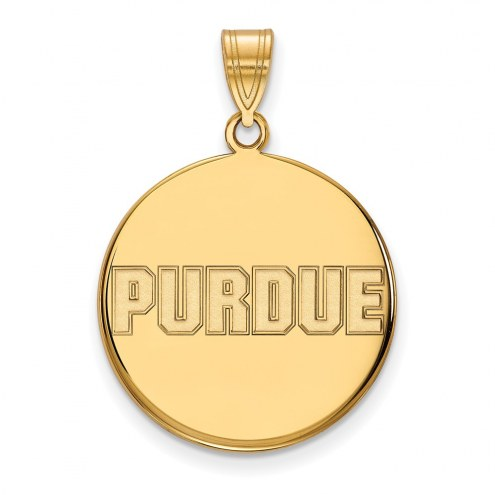 Purdue Boilermakers Sterling Silver Gold Plated Large Disc Pendant
