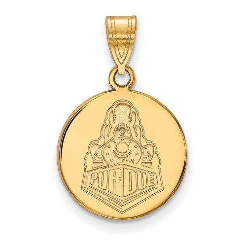 Purdue Boilermakers Sterling Silver Gold Plated Medium Disc Pendant