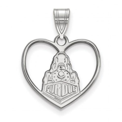 Purdue Boilermakers Sterling Silver Heart Pendant
