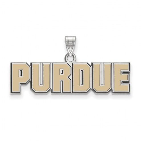 Purdue Boilermakers Sterling Silver Small Enamel Pendant