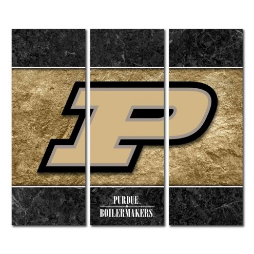 Purdue Boilermakers Triptych Double Border Canvas Wall Art