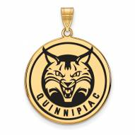 Quinnipiac Bobcats Sterling Silver Gold Plated Extra Large Enameled Disc Pendant