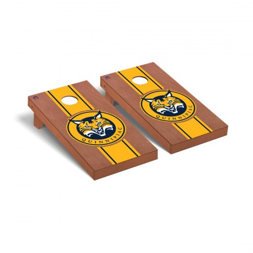 Quinnipiac Bobcats Rosewood Stained Stripe Cornhole Game Set