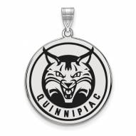 Quinnipiac Bobcats Sterling Silver Extra Large Enameled Disc Pendant