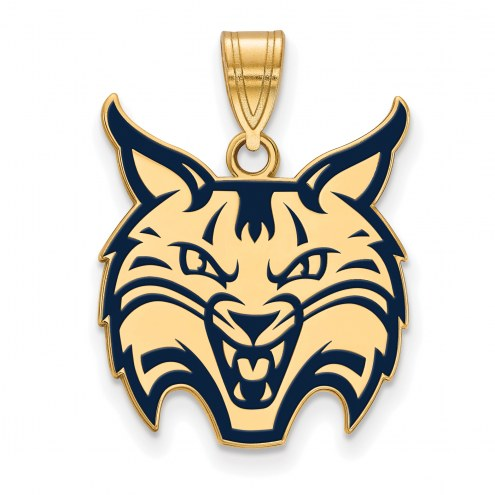 Quinnipiac Bobcats Sterling Silver Gold Plated Large Pendant