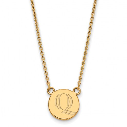 Quinnipiac Bobcats Sterling Silver Gold Plated Small Pendant Necklace