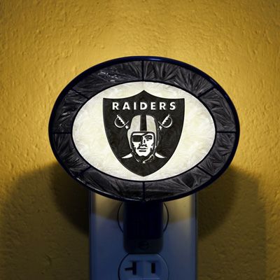 Oakland Raiders NFL Stained Glass Night Light