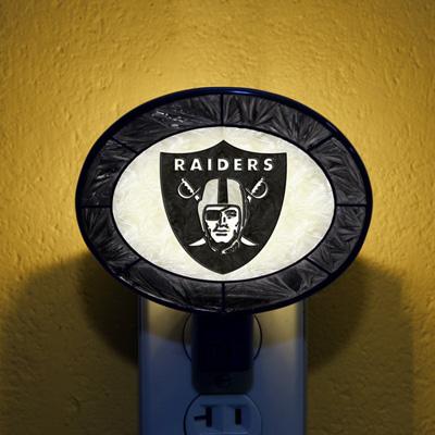 Las Vegas Raiders NFL Stained Glass Night Light