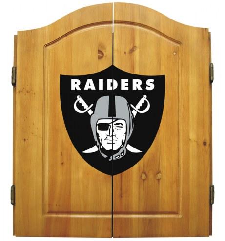 Oakland Raiders NFL Complete Dart Board Cabinet Set (w/darts & flights)