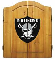 Las Vegas Raiders NFL Complete Dart Board Cabinet Set (w/darts & flights)