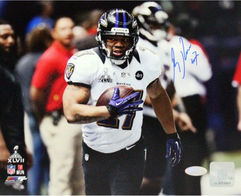 Ray Rice Signed Warming Up Before Super Bowl 8 x 10 Photo
