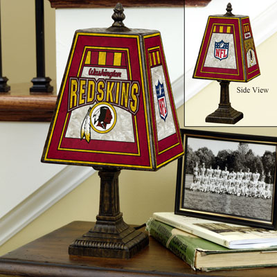 Washington Redskins NFL Hand-Painted Art Glass Table Lamp