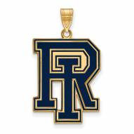 Rhode Island Rams Sterling Silver Gold Plated Extra Large Enameled Pendant