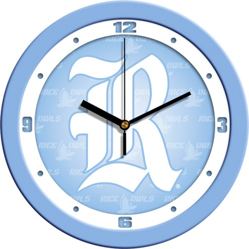 Rice Owls Baby Blue Wall Clock