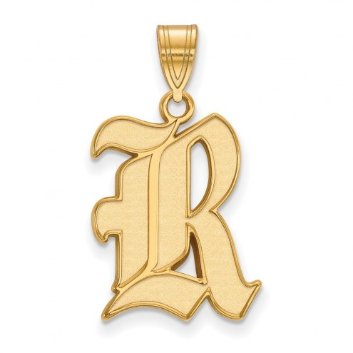 Rice Owls NCAA Sterling Silver Gold Plated Large Pendant