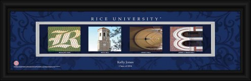 Rice Owls Personalized Campus Letter Art